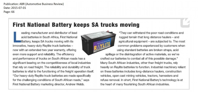 In The News First National Battery
